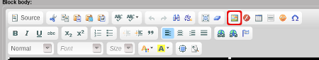 CKEditor toolbar with image icon selected